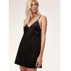 Aritzia Wilfred Free Vivienne Black Suede Dress